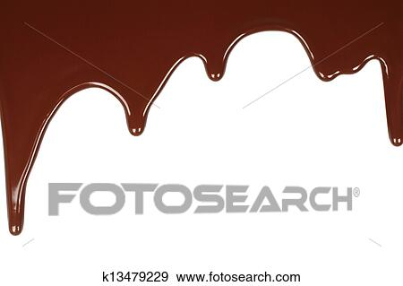Stock Photograph of Melted chocolate dripping on white ... Melted Chocolate Clip Art