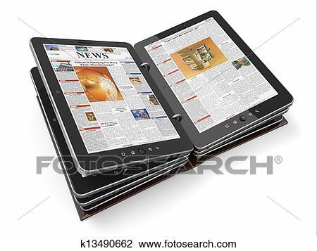 clipart journal ou magazine depuis pc tablette k13490662 recherchez des cliparts des. Black Bedroom Furniture Sets. Home Design Ideas