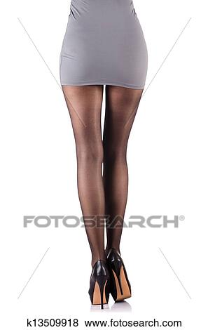 Images femme grand jambes isol blanc k13509918 for Collant mural francais