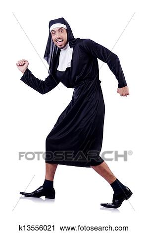 Stock Photography of Male nun in funny religious concept k13556021 ...