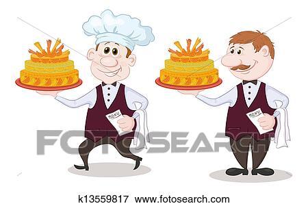 Stock illustration koch und kellner mit feiertag for Koch und kellner