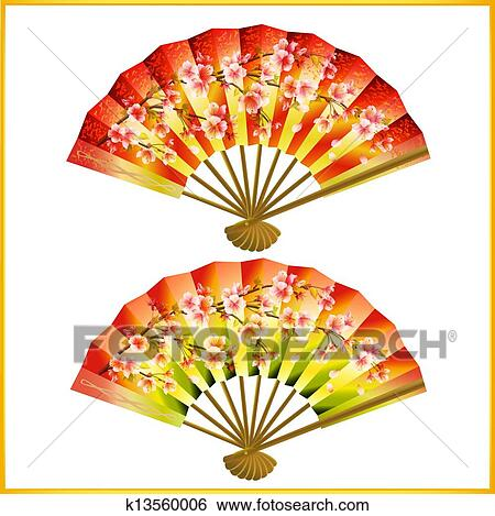 Japanese traditional red pattern set royalty free stock photography - Clip Art Of Set Of Japanese Fans Over White K13560006