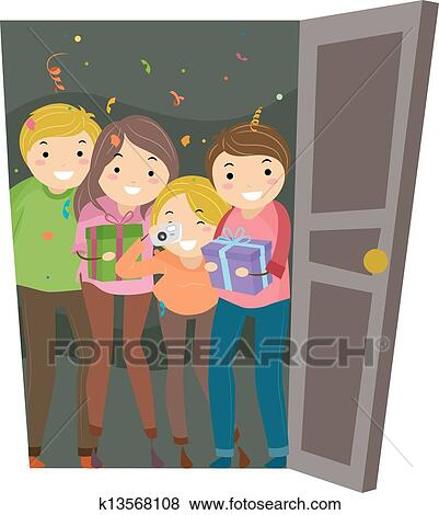 Open Door Welcome Clipart clipart of teen girls welcome party k16117370 - search clip art