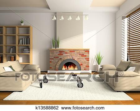 Clip art casa interno 3d interpretazione k13588862 for Mobilia arredamento 3d