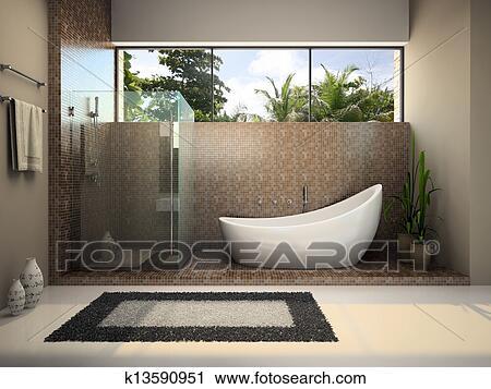 clipart modernes innere von dass badezimmer k13590951 suche clip art illustration. Black Bedroom Furniture Sets. Home Design Ideas