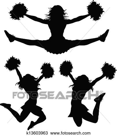Clipart of Cartoon Cheerleader with Pom Poms k16405103 - Search ...