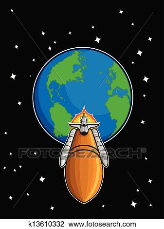 Clipart of Space Shuttle Fly from Earth k13610332 - Search Clip ...