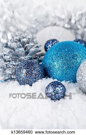 Stock fotografie festlicher glitzer weihnachtsdeko - Weihnachtsdeko blau ...