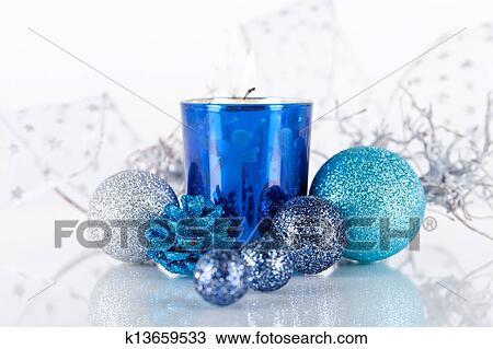 Stock foto festlicher glitzer weihnachtsdeko silber - Weihnachtsdeko blau ...