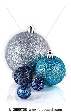 Bilder festlicher glitzer weihnachtsdeko silber blau - Weihnachtsdeko blau ...