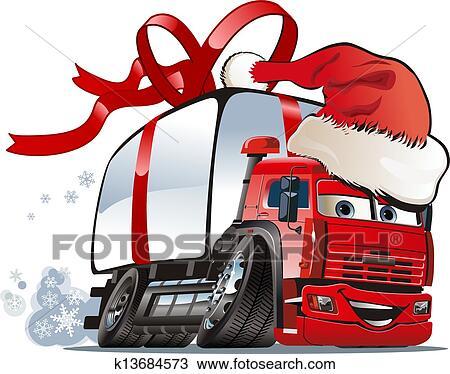 clipart karikatur weihnachten lastwagen k13684573. Black Bedroom Furniture Sets. Home Design Ideas