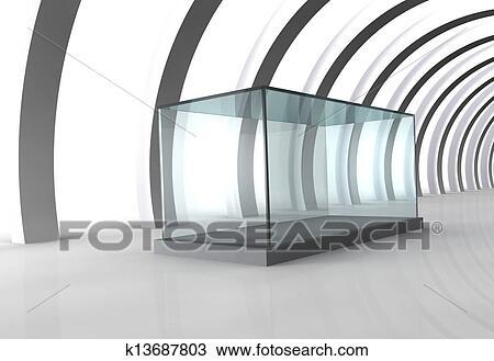 手绘图 - 空玻璃, 陈列柜