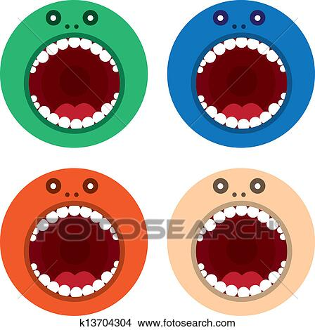 Monster Mouth Drawing Clipart Monster Mouth Round