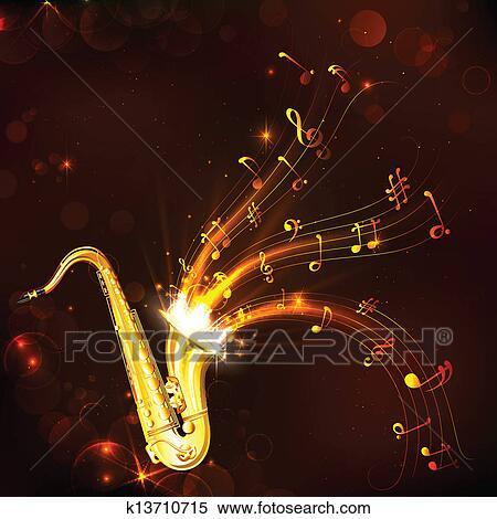 clipart musik melodie von saxophon k13710715 suche. Black Bedroom Furniture Sets. Home Design Ideas