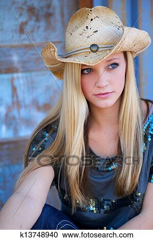 Stock Photography Of Teen Blond Model With Cowboy Hat And
