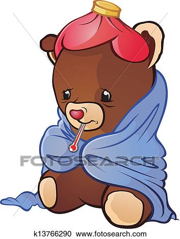 Clipart malade ours peluche dessin anim caract re - Dessin malade ...
