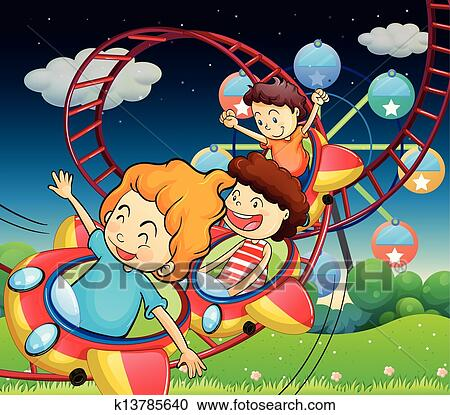 Clipart of Three kids riding in a roller coaster k13785640 ...