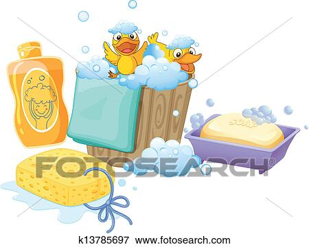 Clip Art of Things inside the bathroom k13785697 - Search Clipart ...