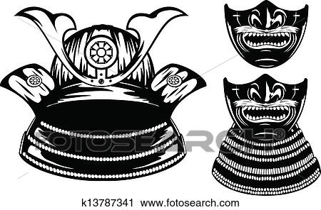 clipart samoura casque menpo yodare kake k13787341 recherchez des clip arts des. Black Bedroom Furniture Sets. Home Design Ideas