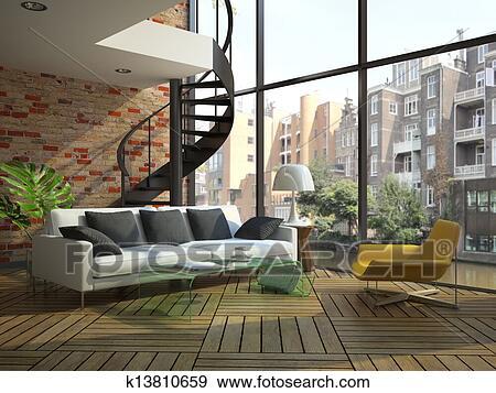 Archivio fotografico moderno soffitta interno con - Pavimento interno moderno ...