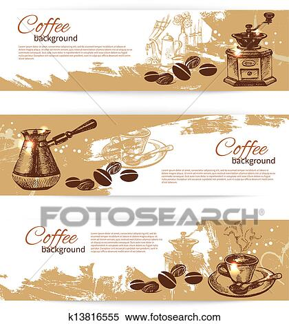 Clipart of Banner set of vintage coffee backgrounds. Menu for ...