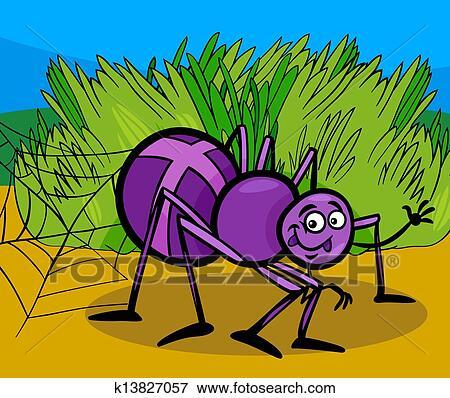 剪贴画 - 十字路口蜘蛛, 昆虫, 卡通漫画, 描述图片