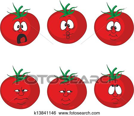 Clip Art of Emotion cartoon red tomato vegetables set 007 ...