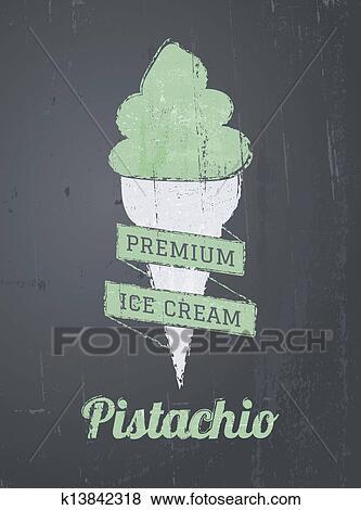 剪贴画 - 黑板, 冰淇淋