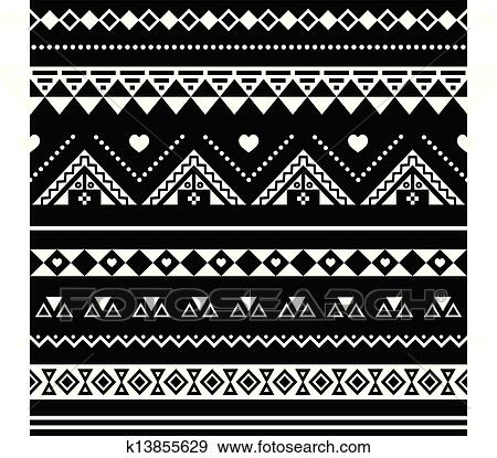 Clip Art - Aztec seamless pattern  tribal blac  Fotosearch - Search    Zarape Clipart