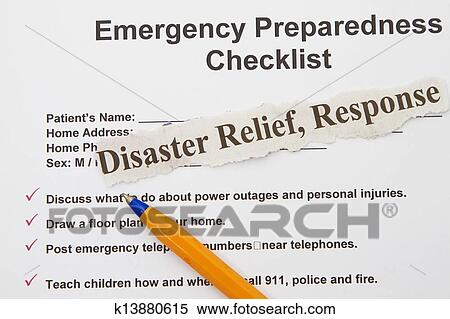 Stock Image - Emergency checklist. Fotosearch - Search Stock Photos, Mural Pictures, Photographs, and Photo Clipart