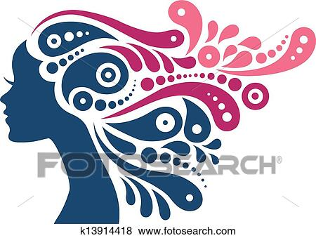 clip art of beautiful woman silhouette tattoo of abstract