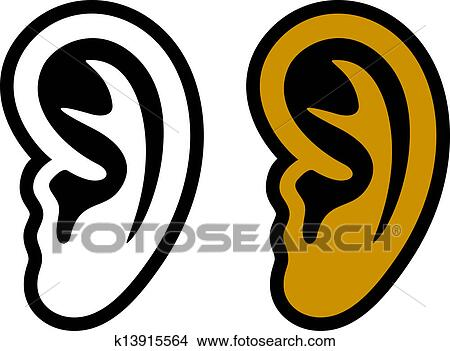Clipart vecteur oreille humaine symboles k13915564 - Clipart oreille ...
