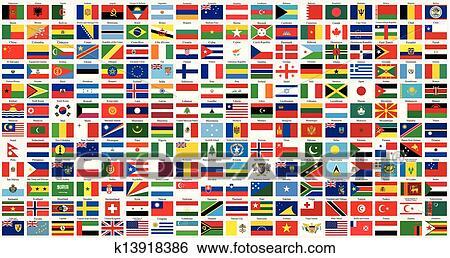 Utklipp - alfabetisk, verden, flagg k13918386 - Søk utklipp, illustrasjonsplakater, tegninger og ...