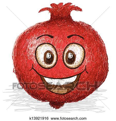 Clipart heureux grenade k13921916 recherchez des cliparts des illustrations des dessins - Grenade fruit dessin ...