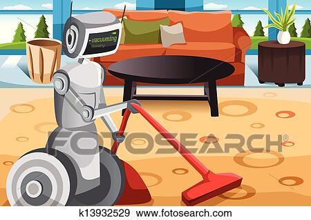 clip art roboter staubsaugender teppich k13932529. Black Bedroom Furniture Sets. Home Design Ideas