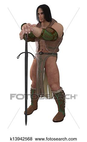 Stock Illustration of Fantasy Barbarian Warrior k13942568 - Search ...
