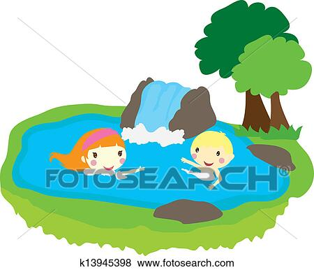 Kids swimming clipart  Clip Art of two kids swimming in a pool with nature k13945398 ...