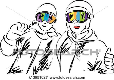 Snow skiing Clip Art Illustrations. 6,907 snow skiing clipart EPS ...