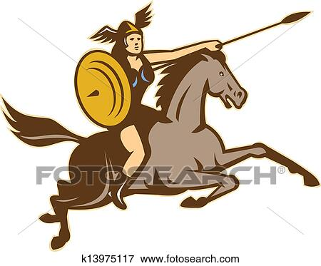 clipart valkyrie riding horse side right iso k13975117 recherchez des cliparts des. Black Bedroom Furniture Sets. Home Design Ideas