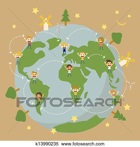Clipart of children around the world save the planet earth for Environmental graphics giant world map wall mural