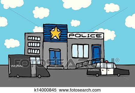 Police station clipart  Clipart of Cartoon police station k14000845 - Search Clip Art ...
