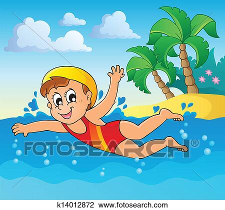 Clipart of Swimming theme image 2 k14012872 - Search Clip ...