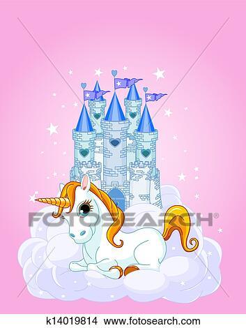 clipart of sky castle and unicorn k14019814 search clip