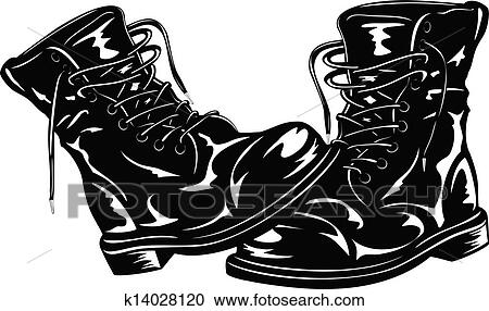 Clipart Of Black Army Boots K14028120 Search Clip Art