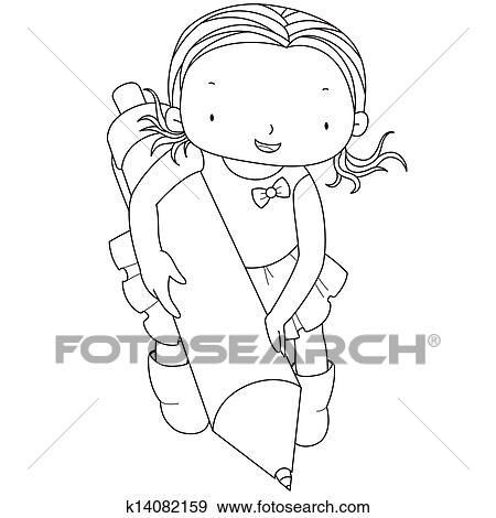 Clip Art of coloring illustration of a girl with ballpoint pen ...