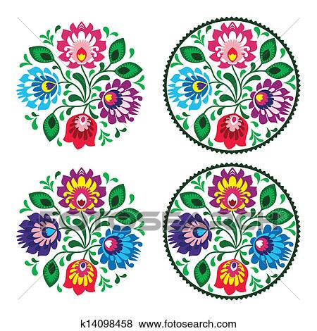 Clip Art Of Ethnic Embroidery With Flowers K14098458
