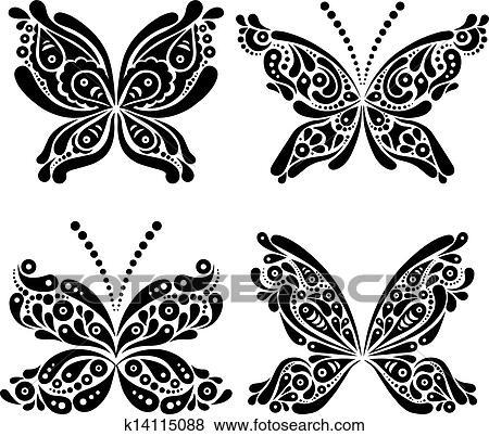 clipart ensemble de beau noir blanc papillon tatouage k14115088 recherchez des cliparts. Black Bedroom Furniture Sets. Home Design Ideas