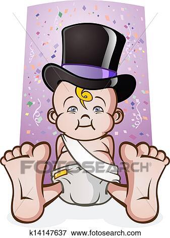 clip art niedlich silvester baby karikatur k14147637. Black Bedroom Furniture Sets. Home Design Ideas