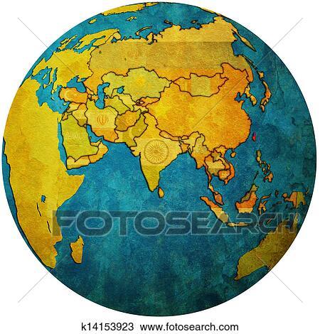 手绘图 - 台湾, 在上, 全球, 地图