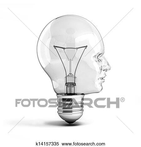 stock illustration menschlicher kopf gl hbirne k14157335 suche clipart zeichnungen. Black Bedroom Furniture Sets. Home Design Ideas